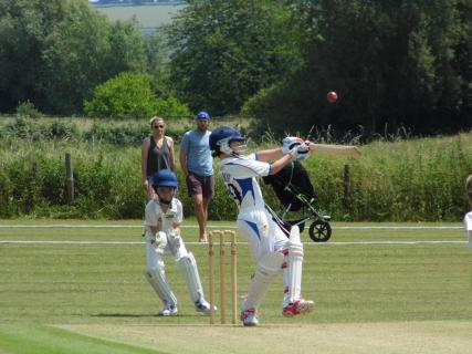 James Talbot attempts to hit a short-pitched delivery