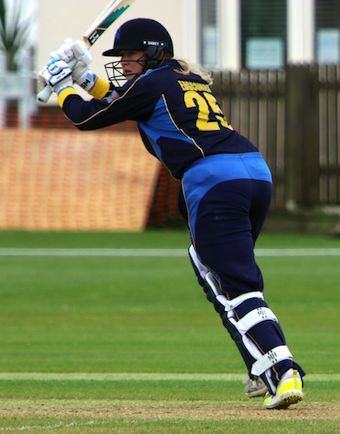 Emily Edgcombe flicks the ball away through mid-wicket