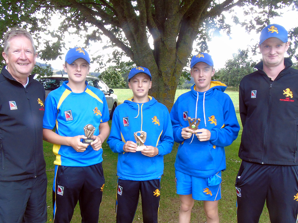 In the centre are Devon Development XI players of the year in 2019 - Ed Butler, Jack Whittaker and Jake Pascoe - flanked by tour manager Nigel Ashplant and coach Jack Bradbury