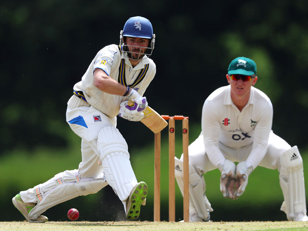 Matt Thompson on the way to a century against Wiltshire on day one at Sandford | Photo: Phil Mingo
