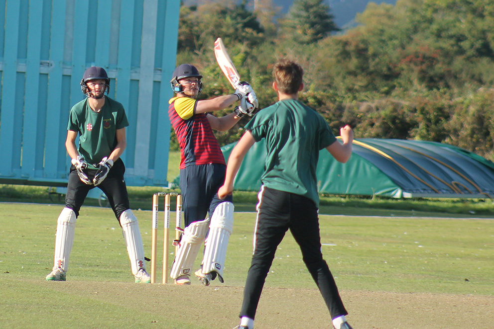 Exeter's Kian Burns hits out in the Vitality Devon T20 final
