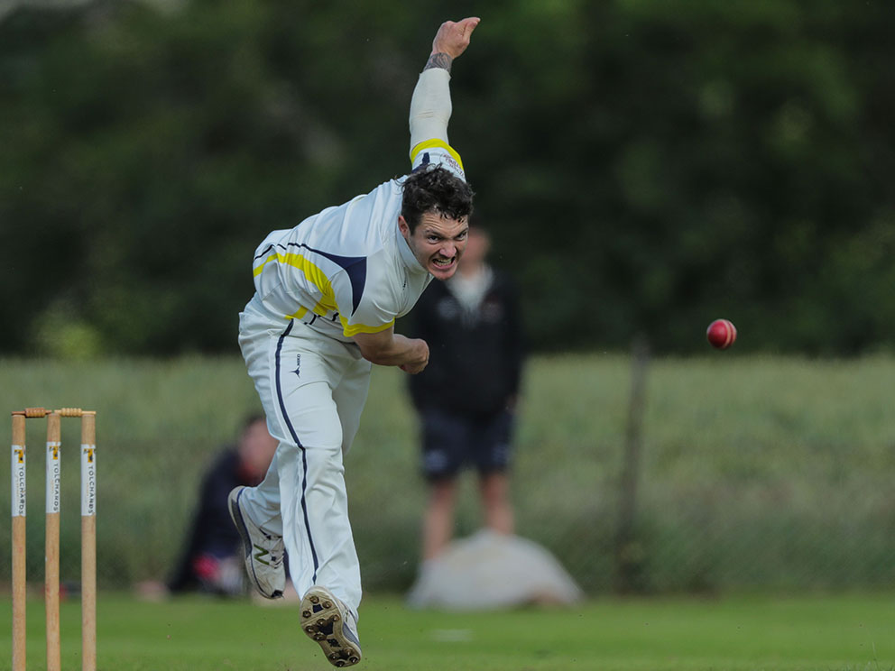 Hal Kerton on the way to 26 wickets for Plymstock last season