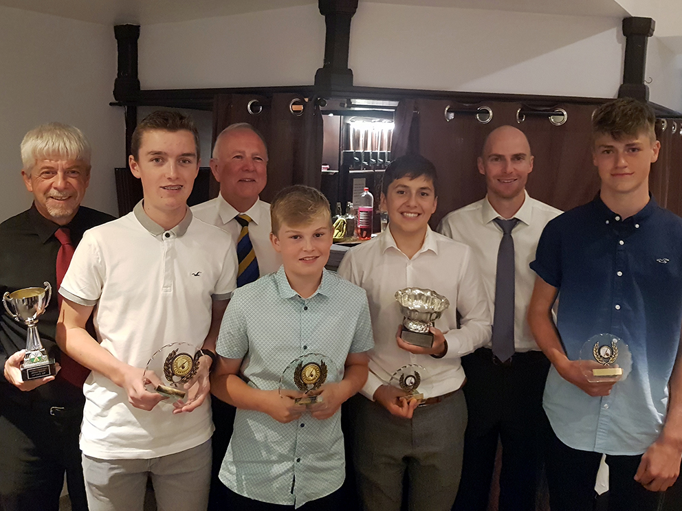 Left to right are Ashburton award winners Jerry Crouch, Jake Pascoe, Vernon Coon, Freddie Harvey, Tom Rush, Ashley Berry and Toby Pascoe