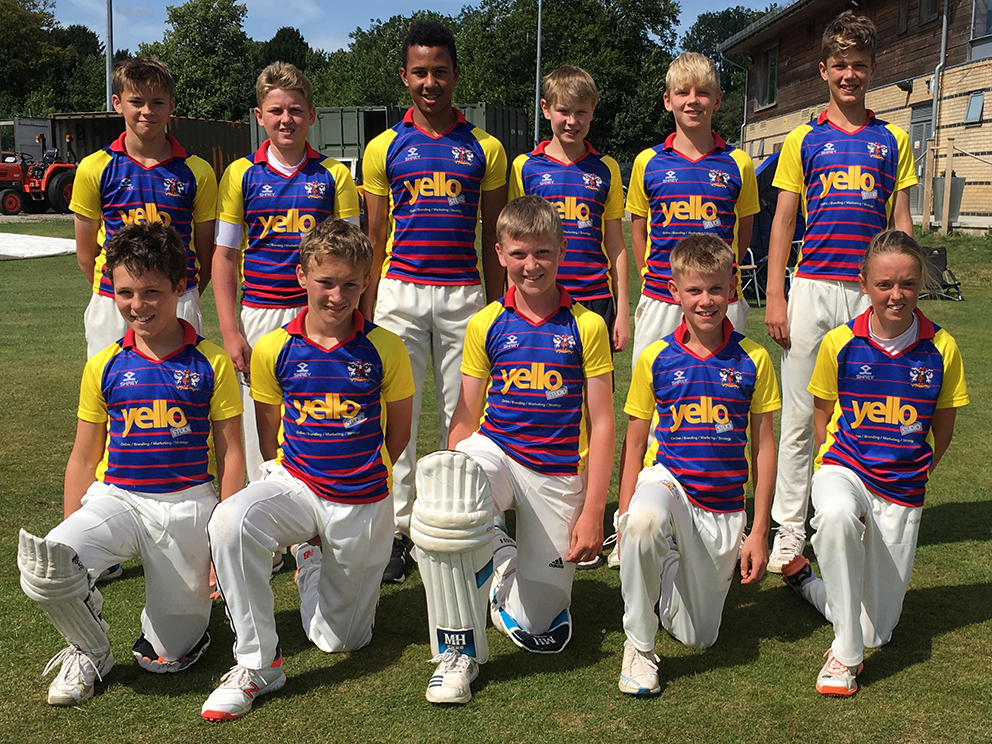 Exeter's under-13 boys' team, who won the ECB Vitality Blast Cup regional final after beating South Wilts (Wiltshire) & Dumbleton CC (Gloucester). Back row (left to right): Tom Wraith, Rory Cooper Smith, Hugo Hepburn, Harry Sharp (capt), Noah Lovedale, Felix Willis; front: Matthew Roberts. Freddie Cockram, Zach Vukusic, Oliver Gribble (wkt), Georgia Read. Team members for final missing from regional finals and pic - Fin Hill, Harry Williams (both Devon U13 at Kings Fest), George Russell, Max Pullum
