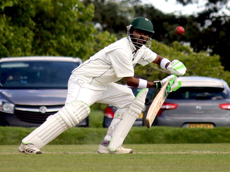 Faizan Riaz at work accumulating runs for Plymouth against Exeter
