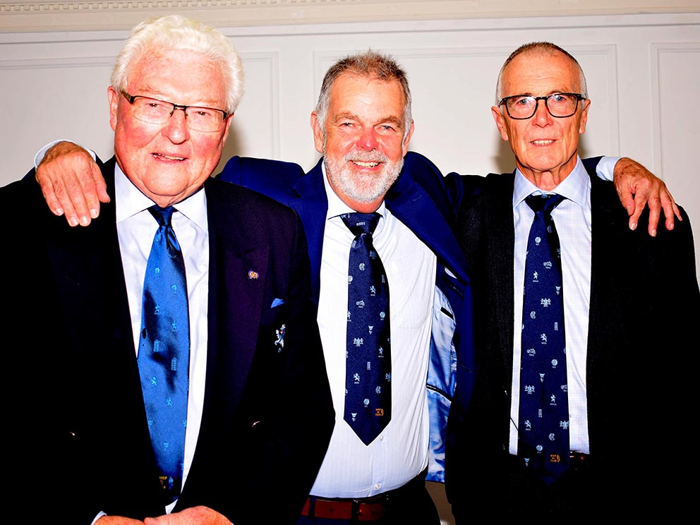 Left to right are master of ceremonies David Post, Geoff Miller and DSCT trustee Jack Davey<br>credit: Conrad Sutcliffe