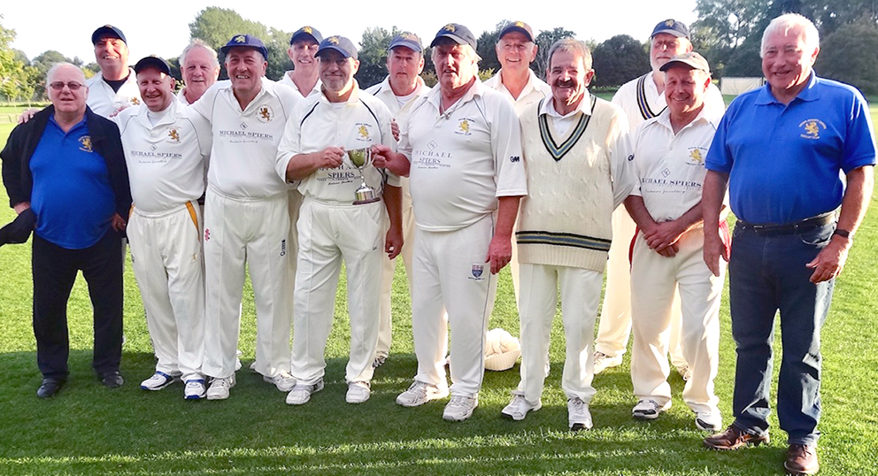 Devon's winning team after they defeated Sussex to lift the National Over-60s' Vase. Left to right: Pete Gascoigne, Dillon Attwood, Dave Hart, Pete Shephard, Andy Rose, Paul Harding, Neil Matthews, Steve Preston, Dave Amery, Neil Price, Tom Stanton, Fran Pyle, Steve Harris, Ian Western