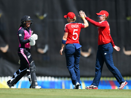 Sophie Ecclestone and Heather Knight celebrate the dismissal of Hayley Jensen. Photo: Getty Images