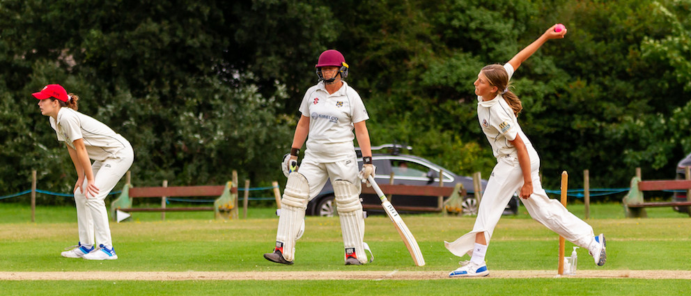 Exeter bowling in the match against Bovey Tracey | Photo: Mark Lockett