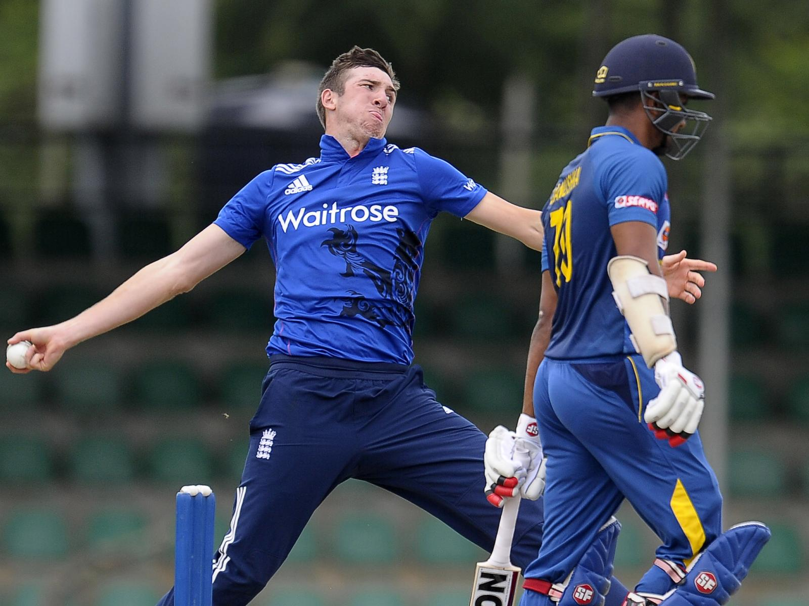 Craig Overton bowling for England A<br>credit: ECB Press Office