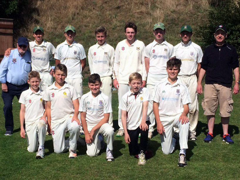 The Bovey team. Back row: Geoff Coish, Sam Taylor, Oli Clifford-Bourne, Chris Yabsley, Tom Andrew, George Pitman, Harry Senior, Mark Pitman (manager). Front row: Sam Harvey, Sam Russell, Luke Medlock, Harry Pitman, Archie Christophers