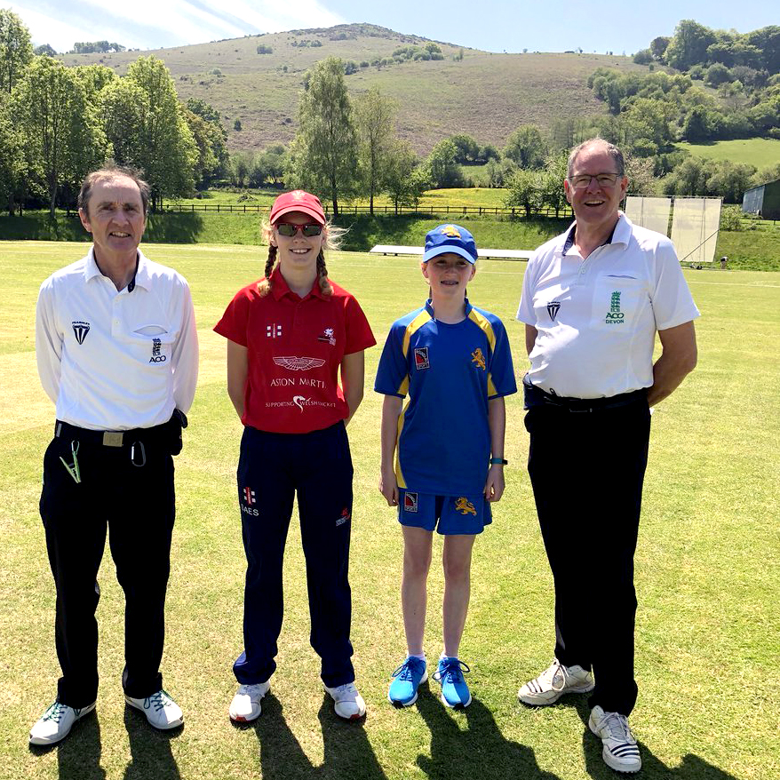Left to right are umpire Phil Mallett, Wales captain Bethany Cook, Devon skipper Ruby Davis and umpire Ian Birt