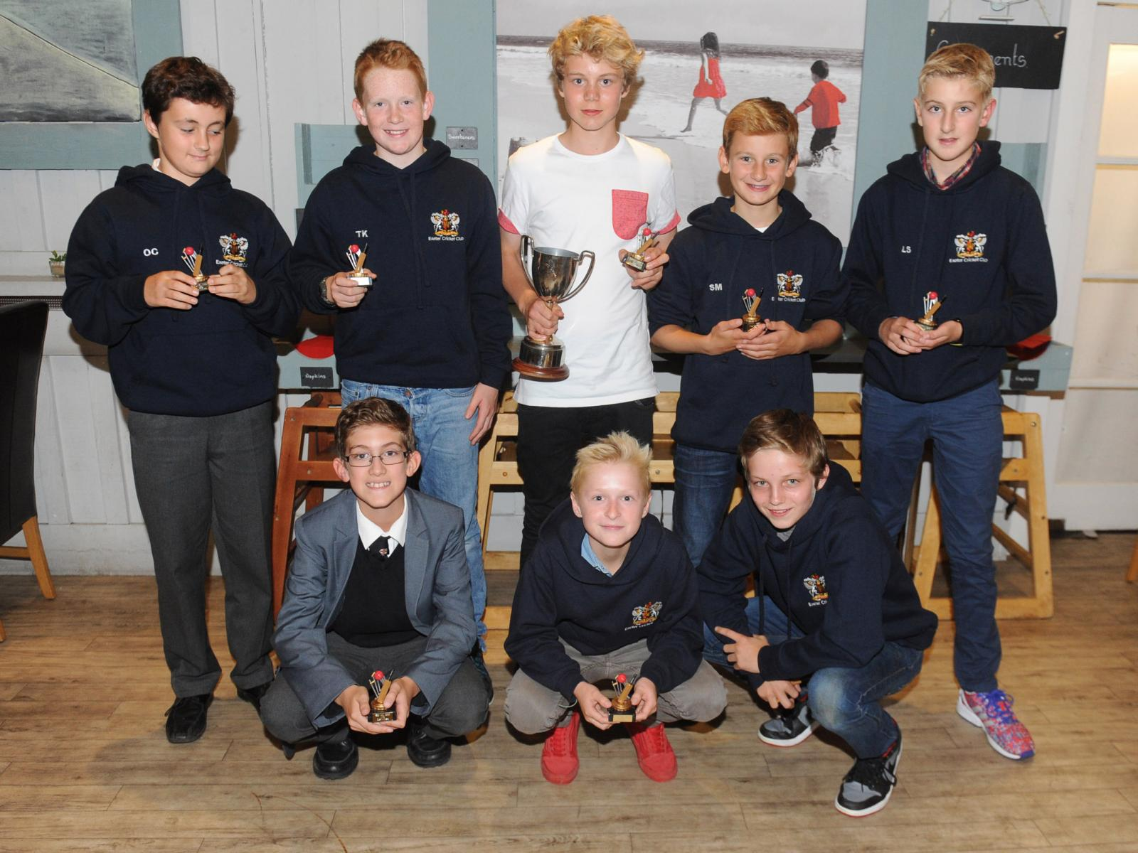 Exeter U13s proudly displaying the EDYL U13 divisional trophy