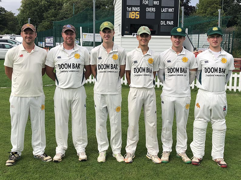 Oh brother! Budleigh Salterton could have three sets of brothers in the side again tomorrow. Pictured are Left to right:Phil Anning, Trevor Anning,Tom Oxland, Will Oxland, Ed Doble and James Doble who all played at Torquay last Saturday