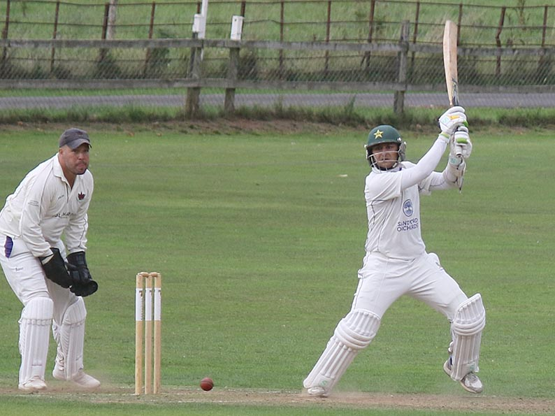 Faisal Iqbal on his way to a match-winning century for Sandford against Exmouth