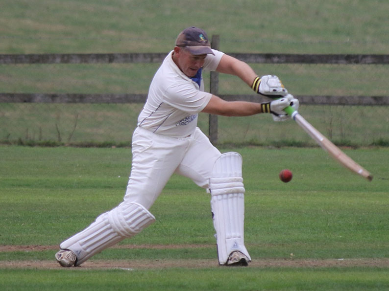 Adrian Small about to hit the winning runs for Sandford against his old club Exmouth