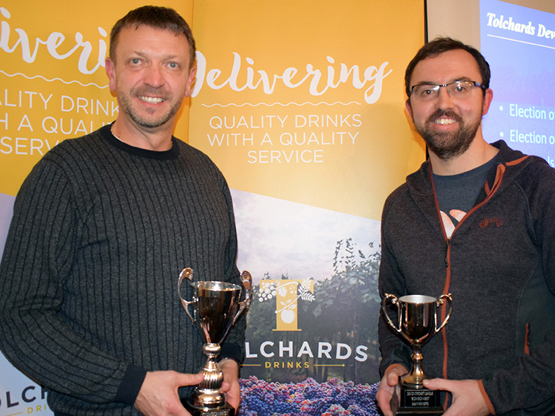 Flashback! Babbacombe&#039;s Steve Broad and Seb Loram with last season&#039;s DCL divisional champions trophies<br>credit: Conrad Sutcliffe