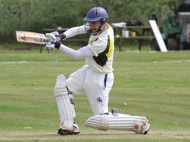 Elliot Rice in full flow for Budleigh - he made a half-century against Brixham