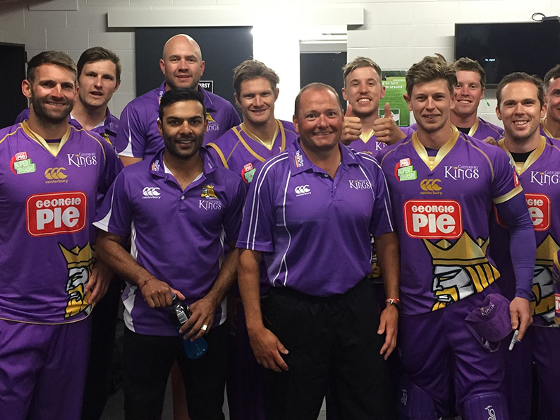 Trevor Griffin (centre) in the dressing room with Canterbury Kings during his New Zealand