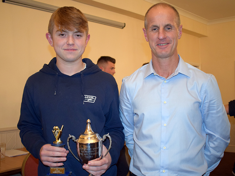 Barnstaple &amp; Pilton&#039;s Jack Moore was named Tolchards DCL young player of the year at the league awards night in Exeter. Jack is pictured with proud dad Steve with his trophies<br>credit: Conrad Sutcliffe
