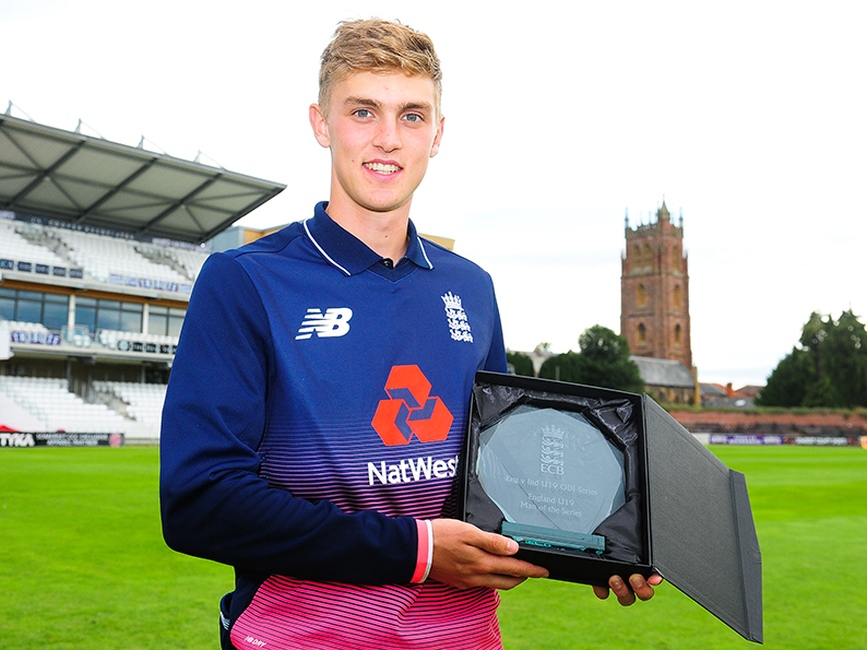 Tom Lammonby with the man of the series award he won playing for England against India in 2017