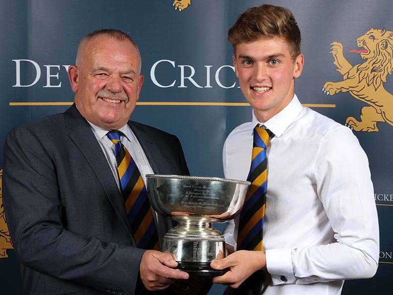Tom Lammonby (right) receives the Buller Bowl awarded to Devon