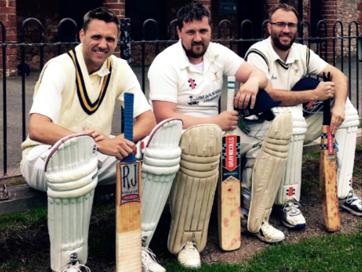 Left to right are brothers Steve, Mark and Simon Prideaux, who all played for Filleigh against Barton