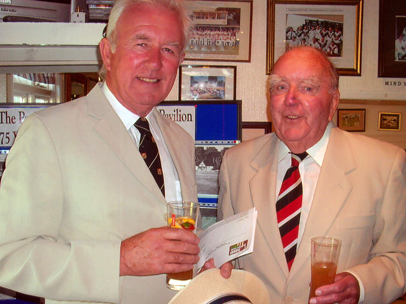 Ray Batten (right) at a Torquay CC function with rugby club president Alan Forsyth<br>credit: Jack Critchlow