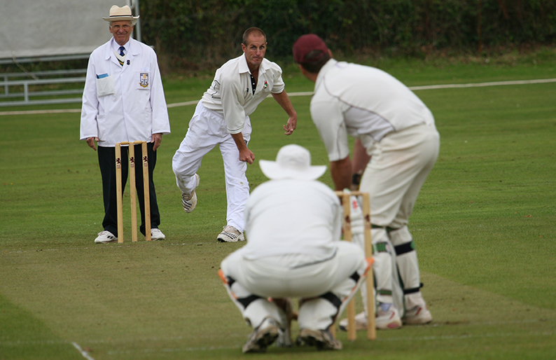 Steve Moore bowling away for Barnstaple & Pilton