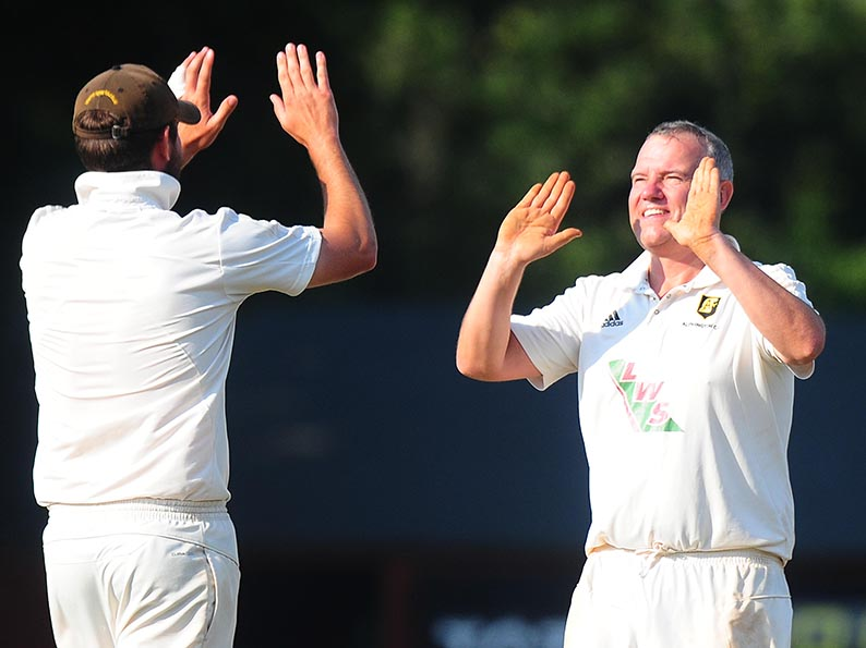 Celebration time for Alphington's Stuart Shaw after taking a wicket in the win over Exeter 2nd XI