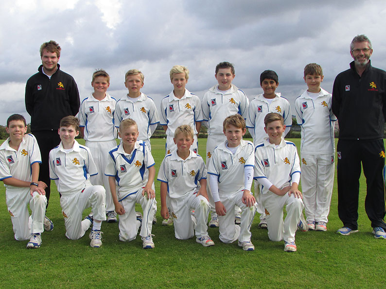 Devon U11s. Back (left to right): Paul Heard (coach), Julian Hayter, Harry Southgate, Will Maunder, George Tapley, Surya Suresh, Rohan Cross, Martin Brice (mgr). Front: Jonathan Triner, Ben Kay, Harry Williams, Morgan Couch, Harry Mount, Will Popham