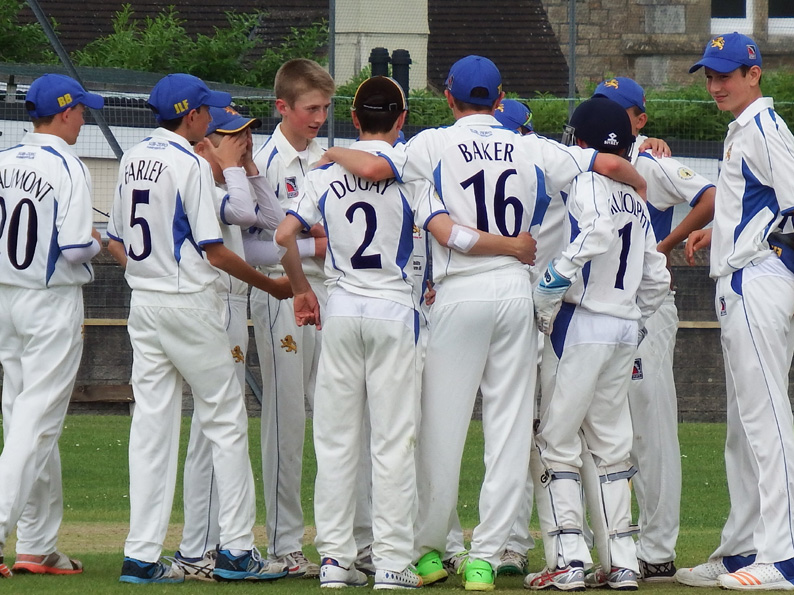 A wicket falls against Wiltshire - time for a huddle