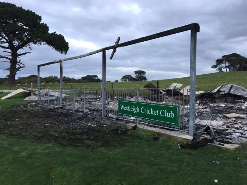 All that's left of the pavilion at Westleigh after another arson attack<br>credit: Photos: Andy Cameron