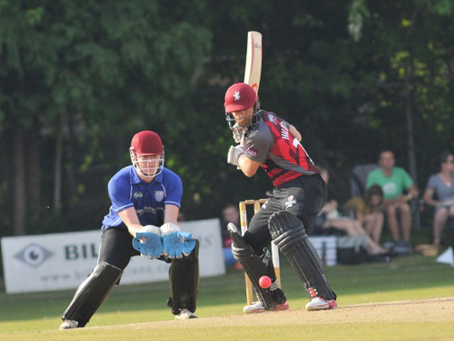 James Hildreth on his way to a century in the T20 testimonial game between South Devon and Somerset