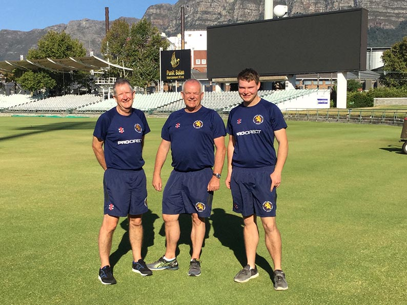 Left to right are Nigel Ashplant, Jim Parker and Paul Heard on the Newlands ground in Cape Town during the Devon Development tour