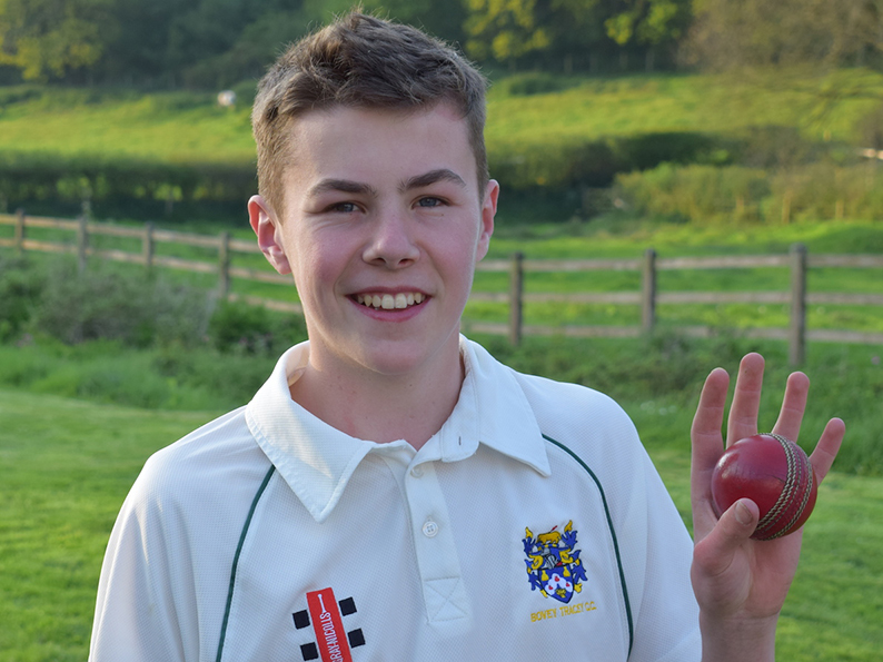 Sam England, who took five wickets in and over and four in four balls for Bovey Tracey against Yelverton