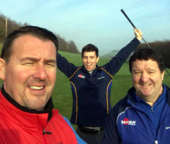 Left to right are team members Jason Degg, Alex Carr and Warren Carr on the fairway at Teign Valley GC