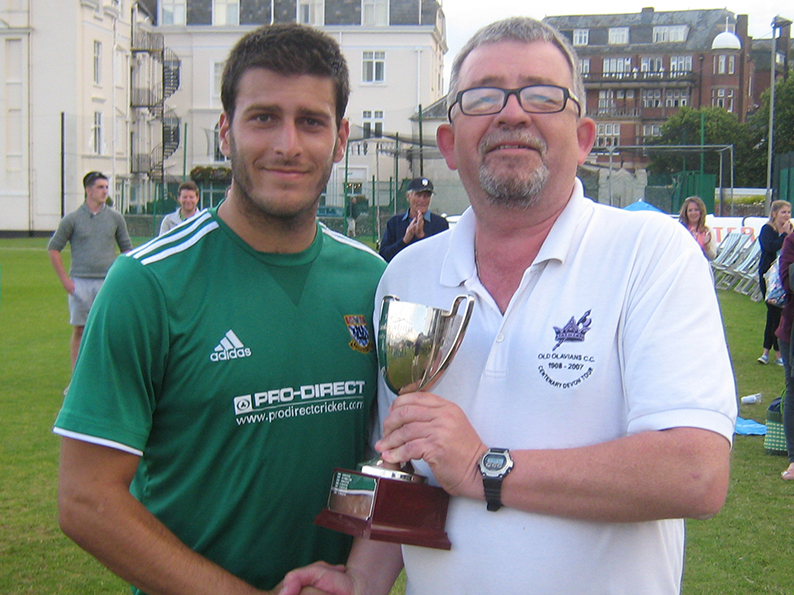 Flashback - Joe Thompson with the man of the match trophy after last season's T20 final. The presentor is  Conrad Sutcliffe