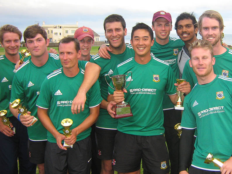 Moving on - Torquay skipper Justin Yau with the 2016 Servicemaster T20 Cup. Nick Watkin is third from the left