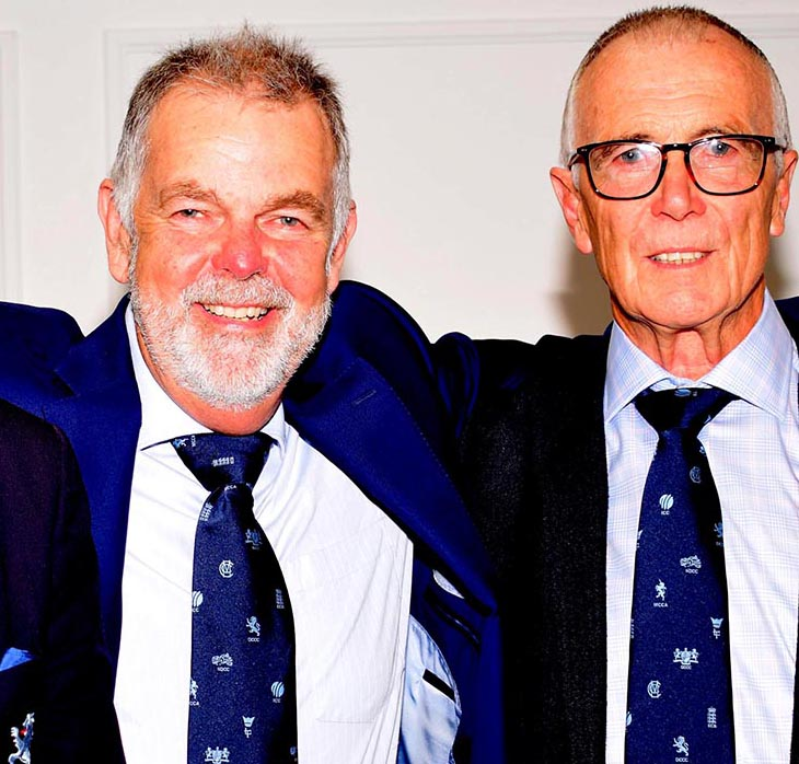 Jack Davey (right) with ex-England selector Geoff Miller at one of the many fund-raisers he has promoted on behalf of the DSCT