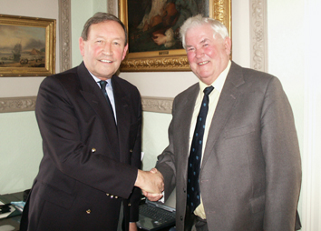Flashback to 2006 when David Shepherd (right) was appointed Devon CCC president by the then chairman and later president himself Roger Moylan-Jones