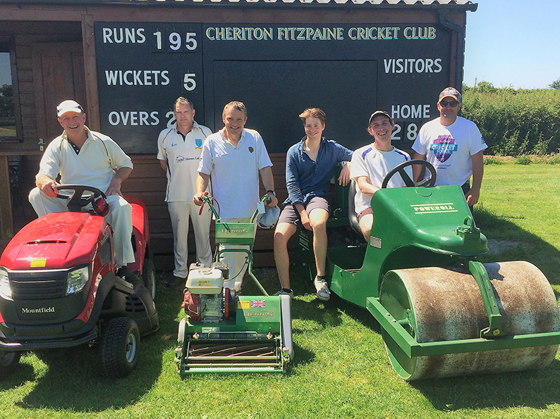 Left to right are John Waite, Jeremy Tricks, James Gordon, Jim Cutler, Will Carr and Nick Guscott with Cheriton's new machinery