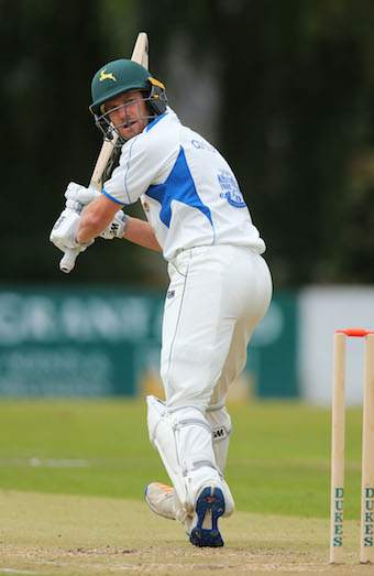 Chris Read flicks the bowling down to fine-leg