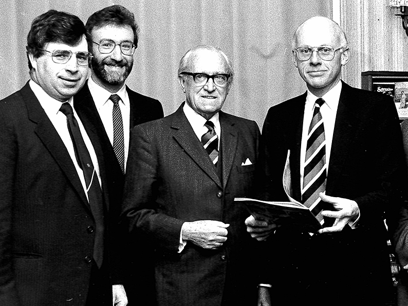 Ken Creber is on the left in this picture taken at Torquay CC's annual dinner in 1986. Left to right are top-table guest Dave Thomas along with Torquay CC committeemen Harry Ball and Peter Goodrich