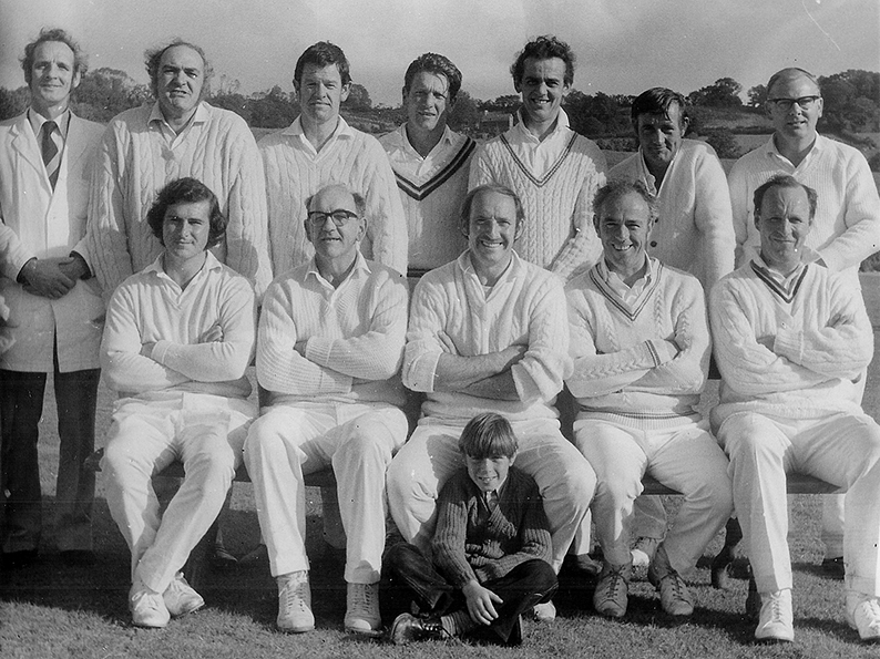 Chudleigh 1st XI in 1974 - Mike Gaywood is in the middle of the back row