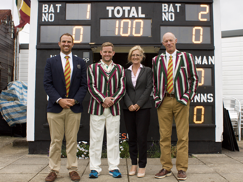 Left to right are MCC captain Andy Mead, Free Foresters skipper John Ratledge, Elaine Gamwell of Lyme Bay Law and Free Foresters' tour manager Nick Baldwin.<br>credit: Stephen Pritchard