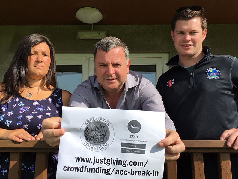Town mayor Sarah Parker-Khan and (left) Mel Stride MP (centre) promoting Ashburton CC's crowdfunding appeal, launched by Lloyd White (right), following a series of break-ins at the club