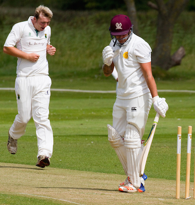 Another one for the collection - Matt Skeemer (left) takes a wicket