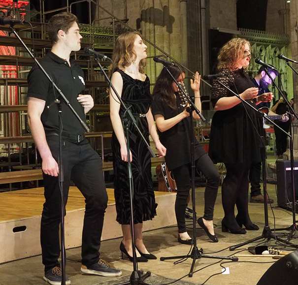 George Stephenson (far left) performing in Exeter Cathedral during the CLIC Sargent concert tour