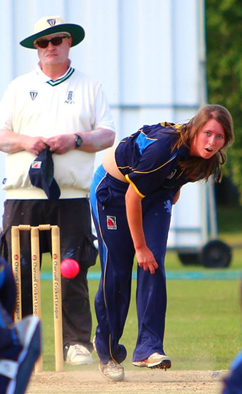 Millie Squire bowling - she is one of three Filleigh players in the touring party